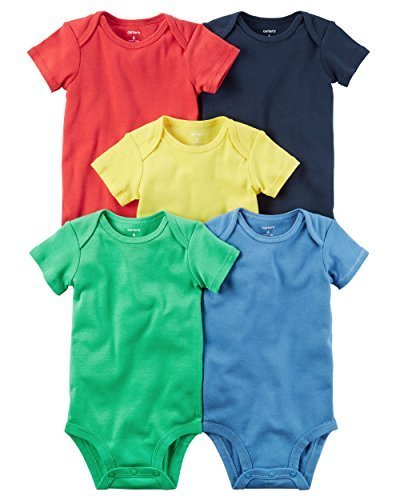 (Carter's Baby Boys' 5 Pack Bodysuits (Baby) Bright Solid, 6 Months )