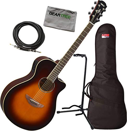 Electric Thin Body - Yamaha APX600 OVS Thin Body Acoustic-Electric Guitar w/Bag, Stand, Cloth, Cable