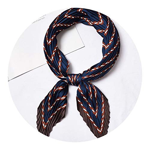 (Square Crinkle Silk Small Neck Scarf for Women,Stripe Navy Blue)
