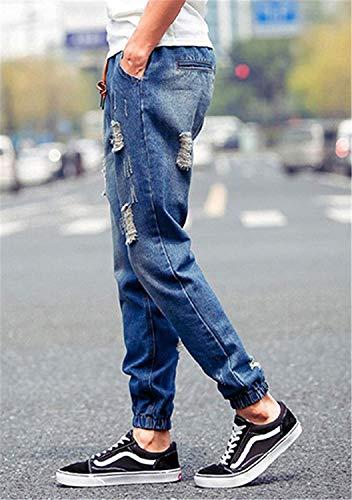 Elastici Caviglia Cargo 3 Uomo Moda Strappati Jeans Fit Alla Da Elasticizzati Skinny Eleganti Blau 2018 Pantaloni Slim AvwzXxqa