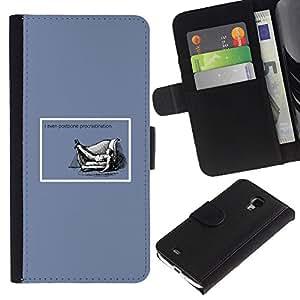 KingStore / Leather Etui en cuir / Samsung Galaxy S4 Mini i9190 / La dilación Cita Vida ?xito trabajo divertido