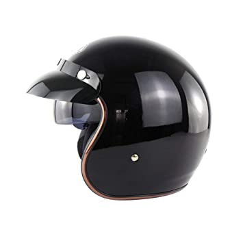 WEGCJU Casco De La Motocicleta Retro Vintage Cruiser Chopper Scooter Cafe Racer Moto Casco 3/