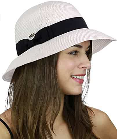 38aff90ec3df4 C.C Women s Paper Woven Cloche Bucket Hat with Color Bow Band