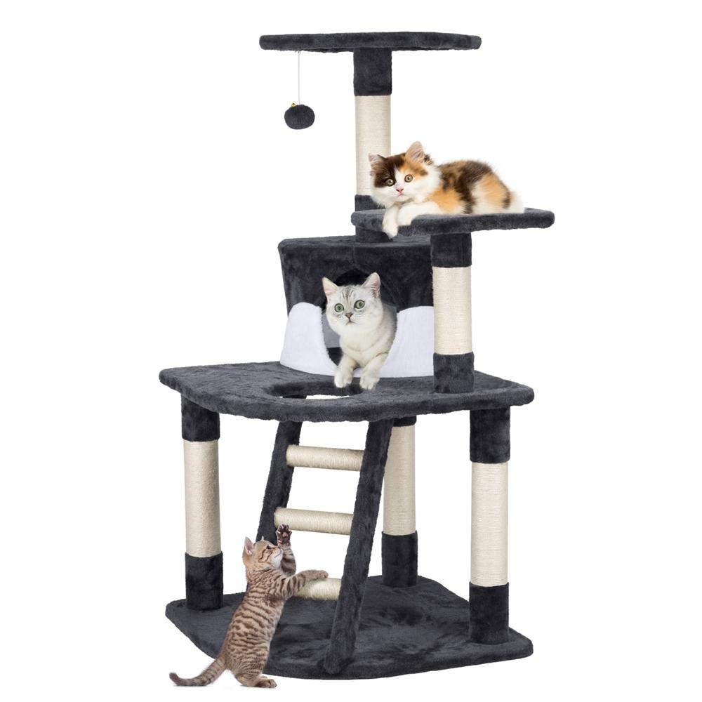YAHEETECH 48in Cat Tree Tower with Spacious Condo Cozy Platform and Replaceable Dangling Balls
