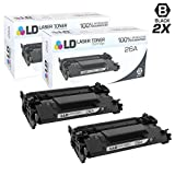 LD Compatible Replacements for HP 26A / CF226A Set of 2 Black Laser Toner Cartridges for LaserJet Pro Printers: M402dn, M402dw, M402n, MFP M426fdn, MFP M426fdw