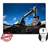 """Luxlady Natural Rubber Mouse Pad/Mat with Stitched Edges 9.8"""" x 7.9"""" IMAGE ID: 34328158 Medium sized excavator"""