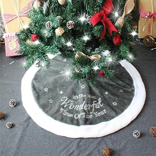 TopHGC Gonna per Albero di Natale Gonna in Natale Pile dArgento di Natale da 90 cm con Decorazioni per la casa