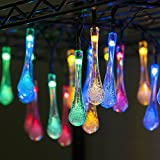 Solar Outdoor String Lights,Goodia 15.7ft 20 LED Water Drop Icicle Ambiance Lighting for Indoor,Bedroom,Patio,Lawn,Landscape,Fairy Garden,Home,Wedding,Holiday,Christmas Tree,Party