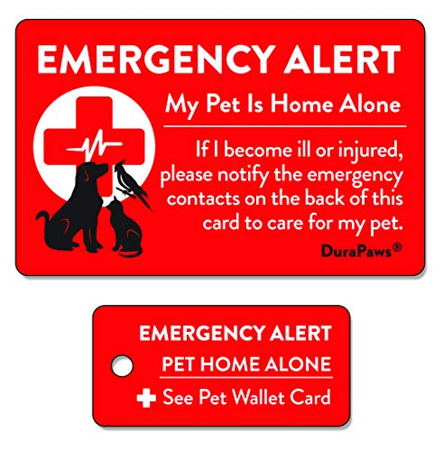 DuraPaws My Pets are Home Alone Emergency Alert Plastic Contact Wallet Card and Key Tag (Writable Surface on Back Side of Card)