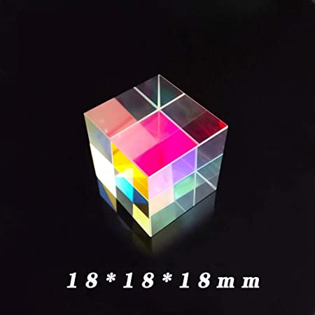 RGB Dispersion Six-Sided Bright Light Combine Cube for Physics and Decoration Optical Glass Prism Childrens Science Experiment for Science Physics Teaching Photo Photography