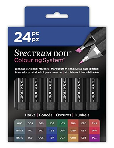 Crafter's Companion SPECN-DARKS24 Markers-24 Pc Spectrum Noir Colouring System Alcohol Marker Dual Nib Pens Box Set - Darks - Pack of 24,]()