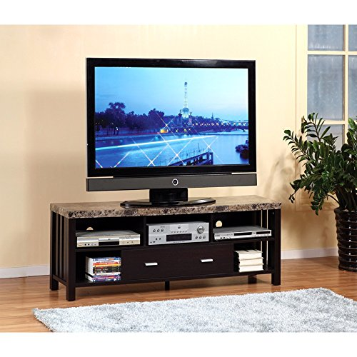 Marble Pedestal Top - Benzara BM148743 Deluxe Faux Marble Top TV Stand with 5 Shelves One Brown