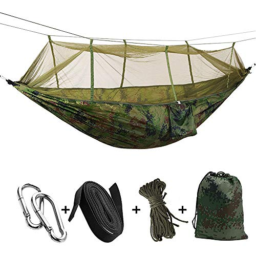 KEPEAK Single & Double Camping Hammock with Mosquito Net and Tree Straps, Lightweight Nylon Portable Hammock, Best Parachute Hammock for Backpacking, Camping, Travel, Beach, Yard