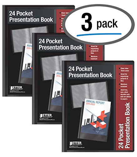 24 Pocket Bound Sheet Protector Presentation Book, 3 Pack, Clear View Front, 48 Page Capacity, by Better Office Products, Art Portfolio, Durable Black Poly Front and Back Covers, Letter Size