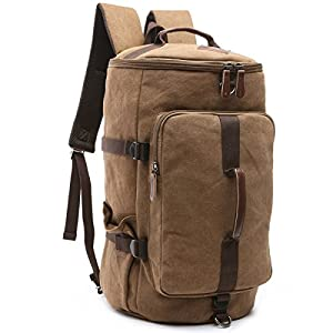 BAOSHA HB-26 3-Ways Vintage Canvas Men Holdall Weekend Travel Duffel Bag Backpack Messenger Shoulder Bags Convertible…