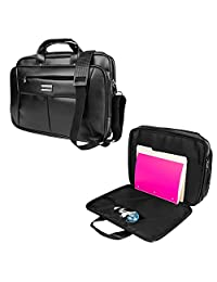 VanGoddy Premium PU Leather Universal Hybrid Compact Design Briefcase/ Carrying/ Tote/ Messenger/ Crossbody Bag with Removable Strap for Apple, Lenovo, HP, DELL, ASUS, Acer, Samsung, Msi, Toshiba, Google Chrome book 13.3 14 14.1 15.4 15.6 Inch Laptop (Black)