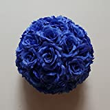 10 Pack 12 inch Artificial Rose Satin Pomander Kissing Balls for Home Wall Wedding Party Ceremony Decoration ,Dark Blue