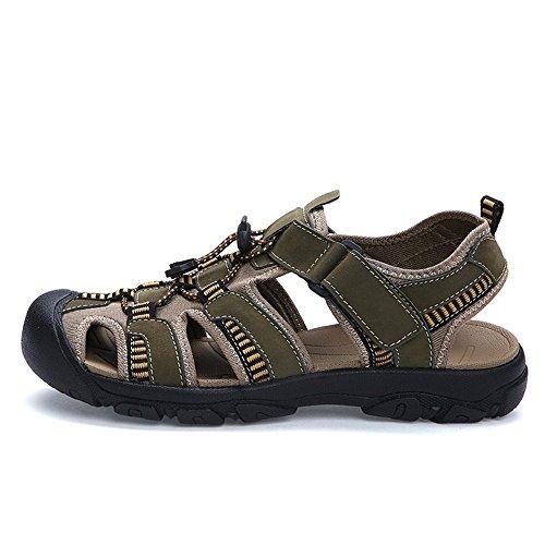per piedino Xujw a Army viaggiare l'estate Nastro Beach traspirante da Sandali Green per bue 2018 48EU Camminare Uomo taglia shoes Sandali Pelle spiaggia di Summer con calzata fino uomo da FqRFngxf