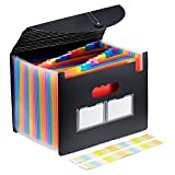 Epoch Accordian File Organizer,24 Pockets Expanding File Folder with Expandable Flap,Waterproof & Tear-Resistant Desk File Storage with Colored Tab & Label for Office