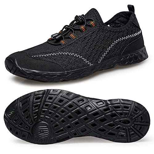 Alibress Quick Dry Beach Walking Water Shoes for Men Breathable Aqua Water Shoes Black Summer Beach Water Shoes 9.5 M US (Best Shoes For Walking In Water)