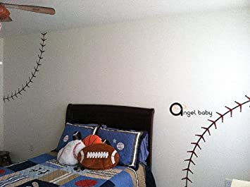 Nursery Baseball Stitch Lines Home House Art Decals Wall Sticker Vinyl Decal Stickers Baby Livng