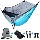 Anytin Hammock with Mosquito Net - Extra Large Double Camping Hammock for Bug-Free Tent, Backpacking, Travel, Portable, Reversible, Integrated Ripstop Nylon Hammock with Tree Straps