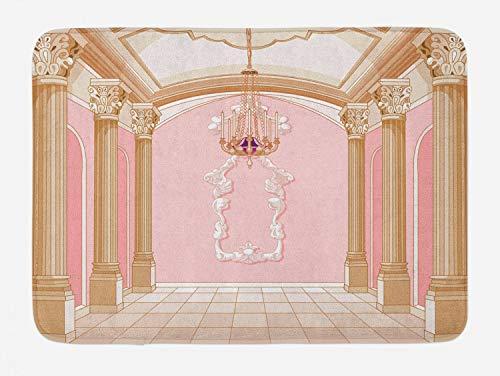 Ambesonne Princess Bath Mat, Interior of The Ballroom Magic Castle Chandelier Ceiling Columns Kingdom Print, Plush Bathroom Decor Mat with Non Slip Backing, 29.5 W X 17.5 L Inches, Rose Peach
