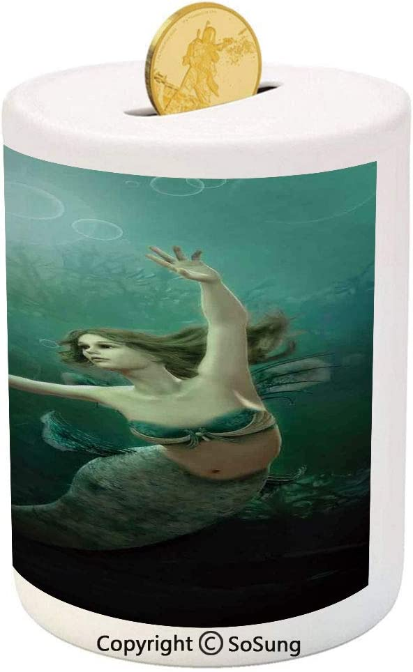 Sosung Mermaid Ceramic Piggy Bank Computer Graphics Of Mermaid Underwater Life Picture Dreamlike Design 3d Printed Ceramic Coin Bank Money Box For Kids Adults Jade Green Teal Ivory Toys Games