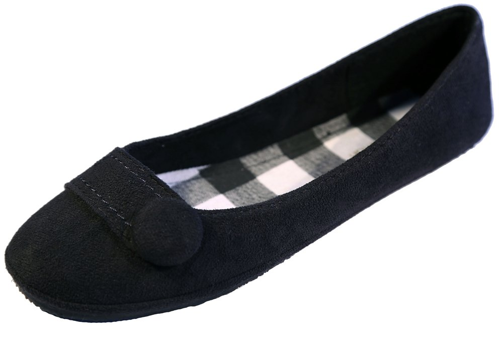 New Women Suede Flat Shoes B00JG7R8SA 8 B(M) US|Chess Blk