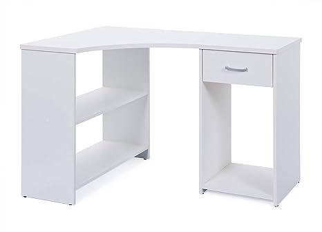 Links grossi bureau d angle avec tiroir bois blanc