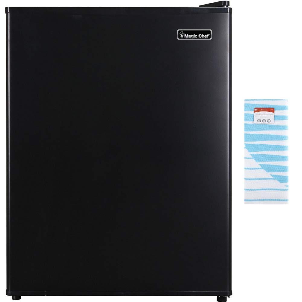 Magic Chef 2.4 Cu Ft Mini All-Refrigerator, Black with Free Kitchen Towel