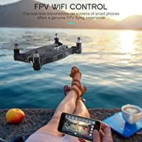 ZZSYU JJRC H49 WiFi FPV Selfie Drone 720P HD Camera Auto Foldable Arm RC Quadcopter (Black)