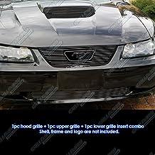 Fit 99-04 Ford Mustang GT V8 Logo Show Black Billet Grille Grill Combo Insert
