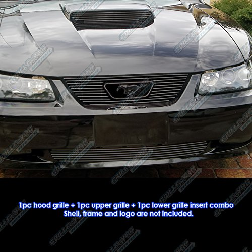 APS Compatible with 1999-2004 Ford Mustang GT V8 Logo Show Black Billet Grille Grill Combo Insert #S18-H33776F