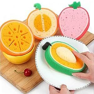 dipshop 4Pcs Lovely Fruit Strong Decontamination Sponge Microfiber Washing Dishes Kitchen Tool