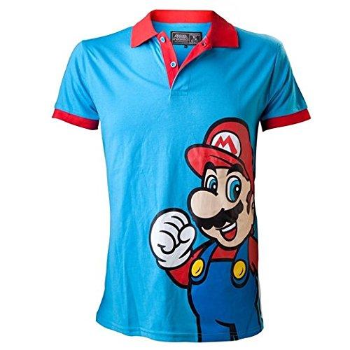 Nintendo Polo-Shirt -L- Mario, blau/rot