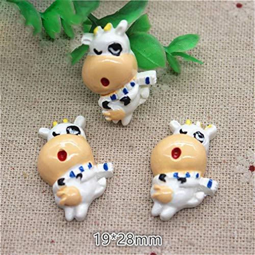10Pcs Cute Cartoon Animal Cow Resin Flat Back Cabochon Charm DIY Jewelry/Craft Decoration 10pcs3 ()