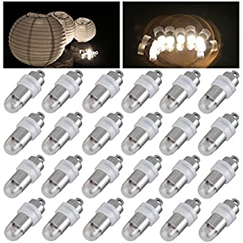 24x Warm White Non-blinking LED Mini Party Lights for Balloons Paper Lanterns Floral Party Decoration, Waterproof and Submersible