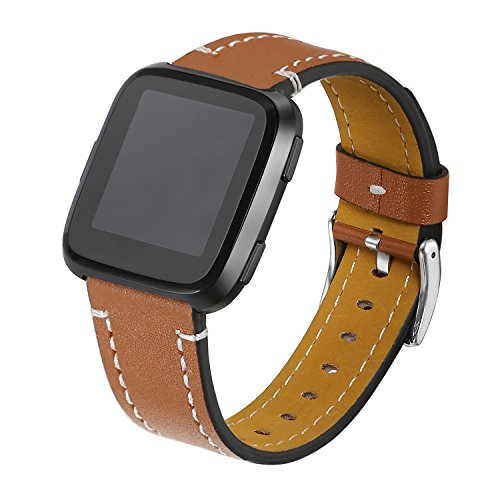 bayite Bands Compatible Fitbit Versa, Classic Genuine Leather Wristband Fitness Strap for Versa Large Brown