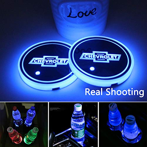 2pcs LED Car Cup Holder Lights for Chevrolet, 7 Colors Changing USB Charging Mat Luminescent Cup Pad,Chevrolet Classic Retro Style from Interesting car