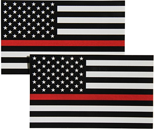 Thin Red Line Flag Decal - 3x5 in. Black White and Red American Flag Sticker for Cars Trucks and SUVs - In Support of Firefighters and EMTs (2-Pack) - Firefighter Emt Decals