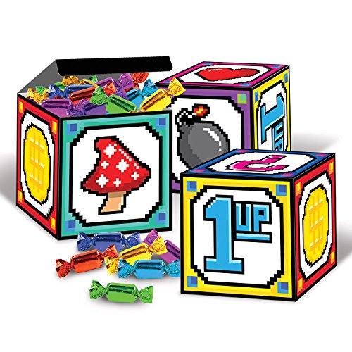 Beistle 8-Bit Favor Boxes, 3 1/4 by 3 1/4-Inch, Multicolor -