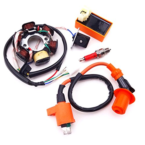 Racing Stator - TC-Motor Magneto Stator + Racing Ignition Coil + 6 Pins AC CDI Box + A7TC Spark Plug For Chinese GY6 49cc 50cc Engine Moped Scooter