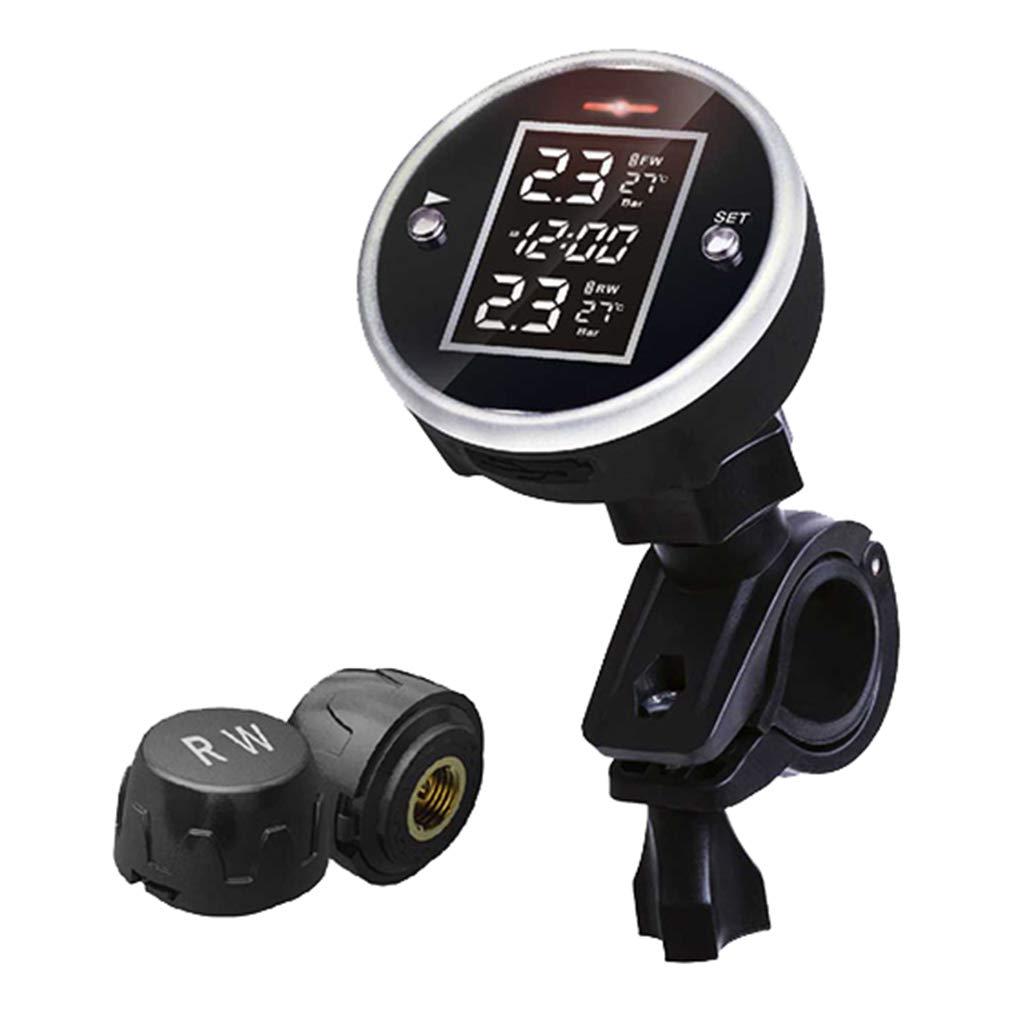 AUWU Portable Universal Wireless Bike Tire Pressure System 2 Sensor Motorcycle Tire Pressure Detector