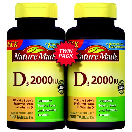Nature Made Vitamin D3 2000 IU Supplement Tablets, 100 count, (Pack of, 2)