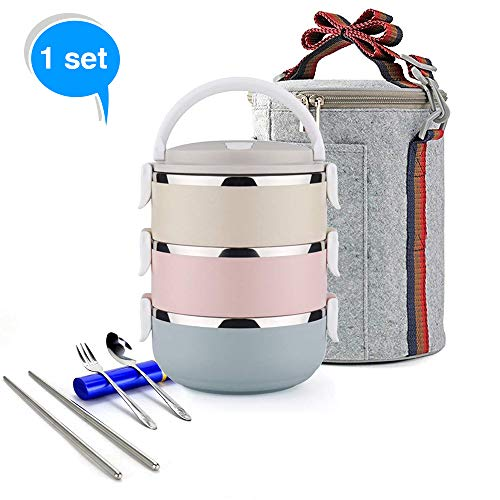 Stainless Steel Lunch Box , Lock Container Bag With Spoon & Chopsticks Fork Set , 3 Tier Airtight Insulated Food Storage Boxes For Kids & Students ,  Portable Snack Case For Office ,  Camping , Travel