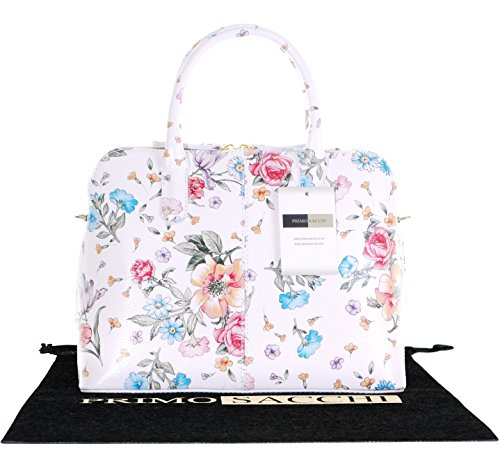 Italian Textured Floral White Leather Hand Made Bowling Style Tote Grab Bag or Shoulder Bag. Includes a Branded Protective Storage Bag