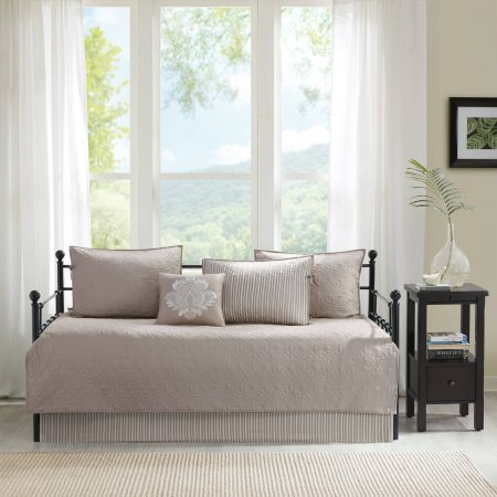 Elegant Vancouver Neutral Solid Tone Detailed Quilted Daybed Cover Set with Decorative Pillow, Bedskirt, and Shams, Khaki