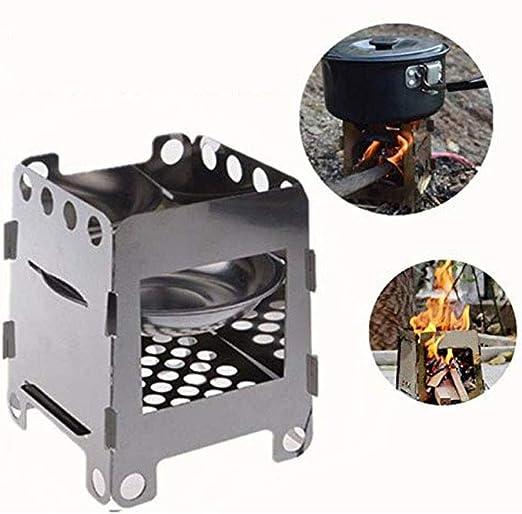 YL Estufa de Camping al Aire Libre, Ventilador portátil de Acero Inoxidable Estufa de leña Horno de leña curación Alcohol Estufa al Aire Libre Cocina Horno de la Mochila: Amazon.es: Hogar
