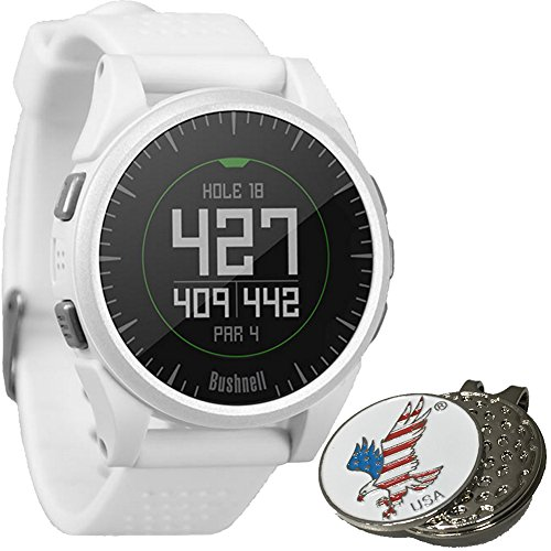 Bushnell 2017 Excel Golf GPS Watch Rangefinder (WHITE) Comes with 1 Custom Ball Marker Hat Clip Set (American Eagle) 35,000+ Worldwide Courses by Bushnell